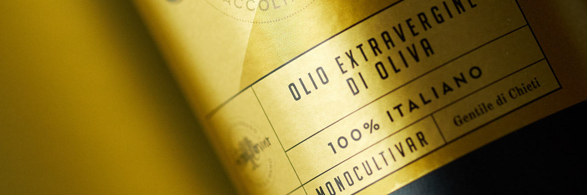 Etichetta Olio Extravergine di oliva Monocultivar Colline d'Abruzzo