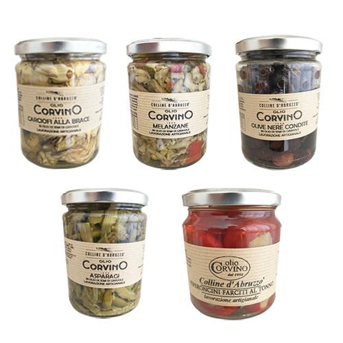 Sott'Olio Pack 5 Prodotti – Carciofi alla brace, Peperoncini farciti al tonno, Asparagi,  Melanzane, Olive nere condite.