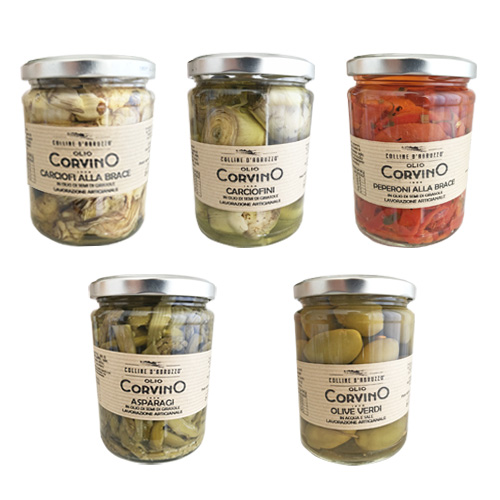 Sott'Olio Pack 5 Prodotti – Carciofi alla brace, Carciofini, Peperoni alla brace, Asparagi, Olive verdi.