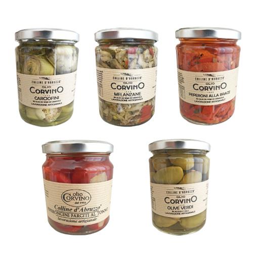 Sott'Olio Pack 5 Prodotti – Carciofini – Melanzane – Peperoni alla brace – Pep. farciti al tonno – Olive verdi