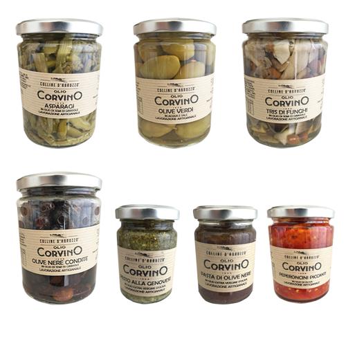 Sott'Olio Pack 7 Prodotti – Asparagi, Olive Nere, Olive Verdi, Tris di funghi, Pasta di olive nere, Pesto alla genovese, Peperoncini piccanti