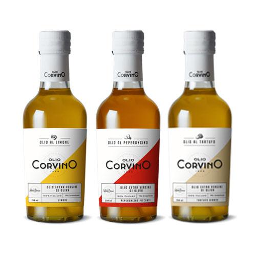 Olio aromatizzato – 6 Bottiglie da 250ml (n.2 Tartufo bianco – n.2 Limone – n.2 Peperoncino Piccante)