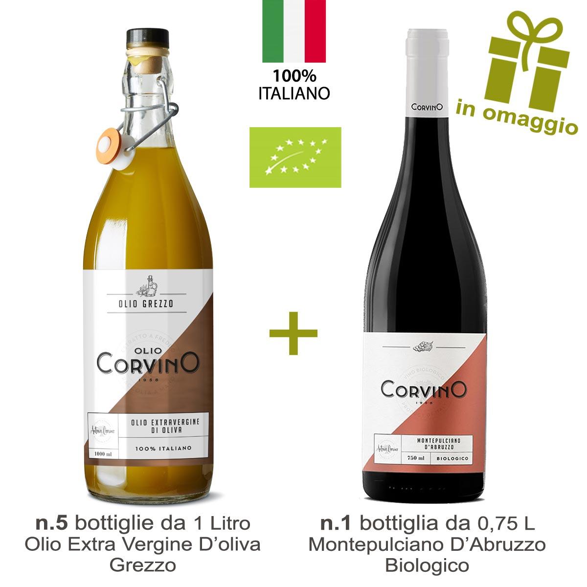 n.5 bottiglie Olio Grezzo 1L + in Omaggio n.1 Bottiglia di Vino Montepulciano d'Abruzzo Biologico