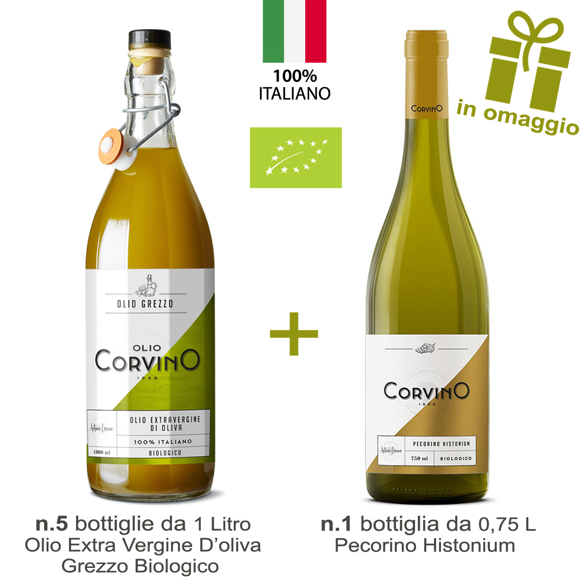 n.5 bottiglie Olio Grezzo Biologico 1L + in Omaggio n.1 Bottiglia di Vino Pecorino Biologico