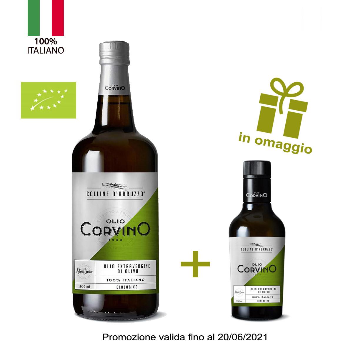 n.6 bottiglie Colline d'Abruzzo Biologico 1L +  in omaggio n.1 bottiglia mini size da tavola olio evo 'Colline d'Abruzzo' biologico lt 0,25 (promozione valida fino al 20/06/21)