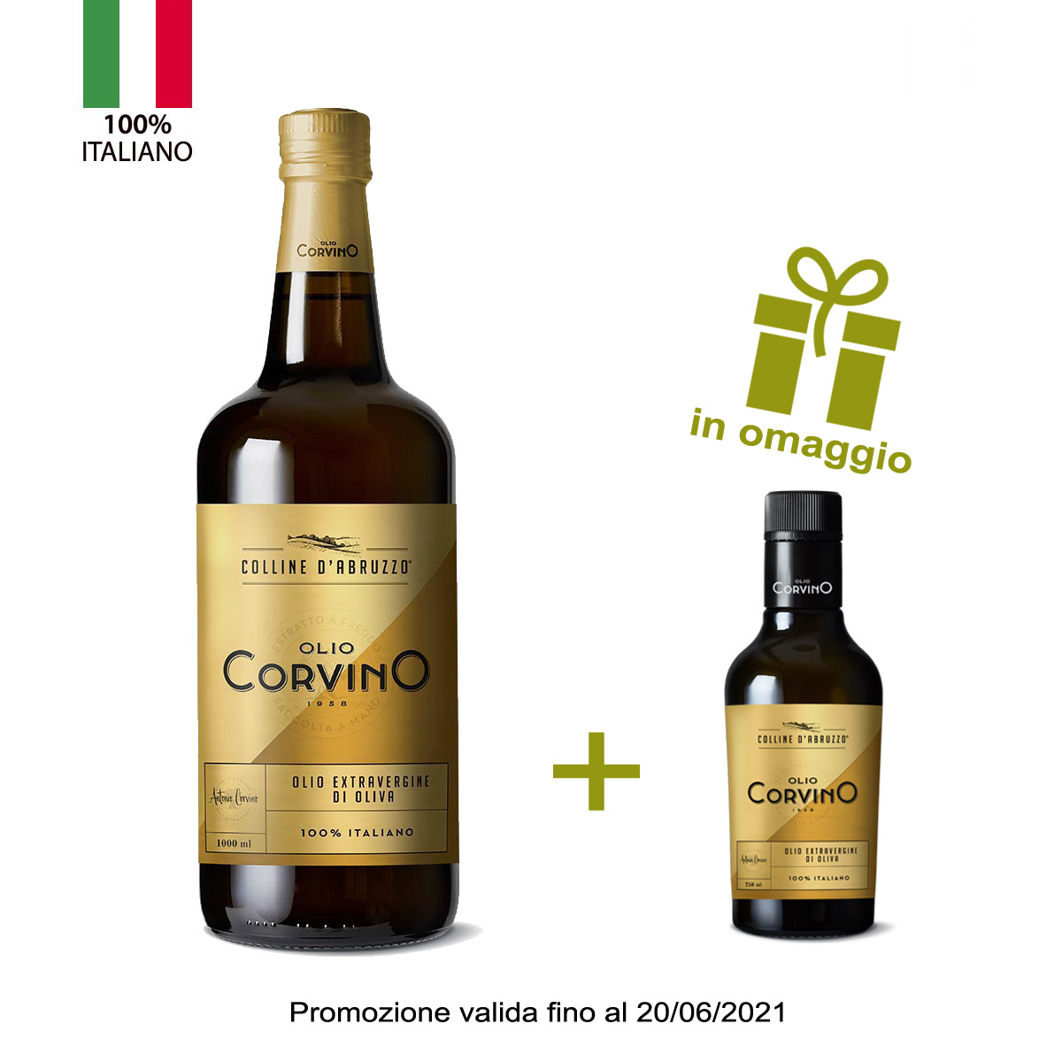 n.6 bottiglie Colline d'Abruzzo 1L + in omaggio 1 bottiglia mini size da tavola olio evo 'Colline d'Abruzzo' lt 0,25 (promozione valida fino al 20/06/21)
